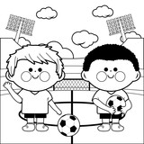 Children soccer players in a stadium. Coloring page