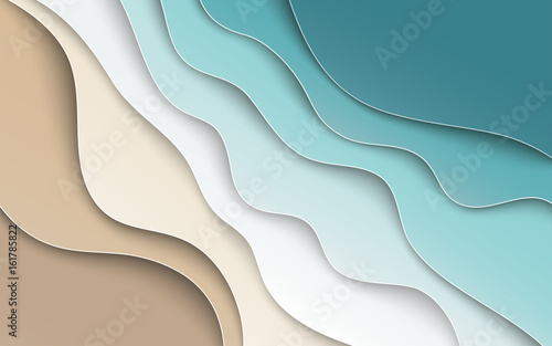 Abstract blue sea and beach summer background with curve paper waves and seacoast for banner, flyer, invitation, poster or web site design. Paper cut out art style, space for text, vector illustration - 161785822