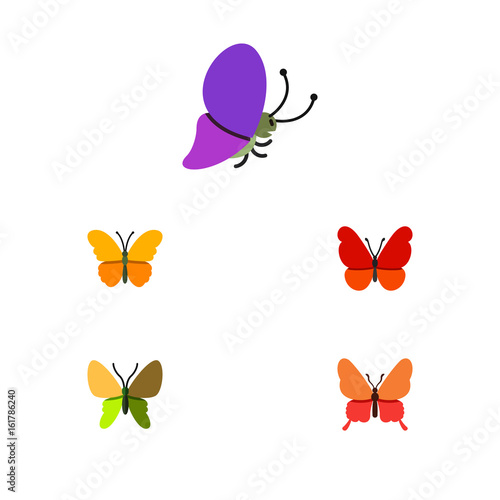 Flat Icon Monarch Set Of Beauty Fly, Monarch, Danaus Plexippus And Other Vector Objects. Also Includes Milkweed, Monarch, Butterfly Elements.