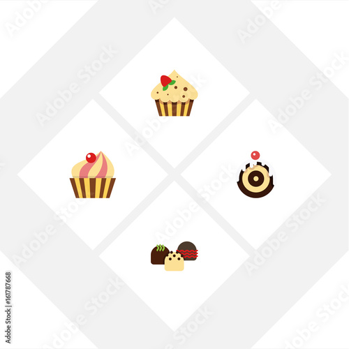 Flat Icon Dessert Set Of Confectionery, Sweetmeat, Cake And Other Vector Objects. Also Includes Patisserie, Pastry, Dessert Elements.