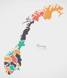 Norway Map with states and modern round shapes - 161802615