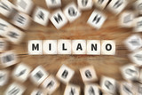 Milano Milan city town travel traveling dice business concept