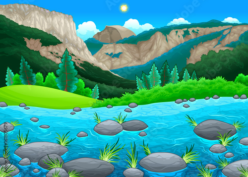 Foto op Canvas Kinderkamer Mountain landscape with lake