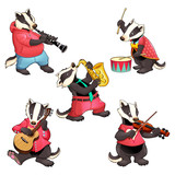 Group of funny badgers are playing music