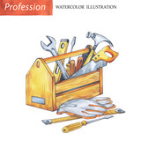 Hand painted wooden box with carpenter tools. - 161819247