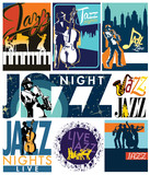 Editable vector labels of jazz musicians in poster, shirt, sticker, flyer and others