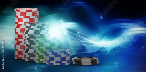 Composite image of 3d image of black gambling chip плакат