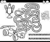 maze with race car coloring page