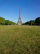 Eiffel tower from Camps of Mars in a sunny day, Paris, France