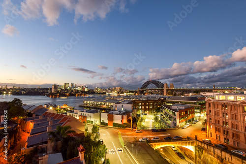 Stunning HDR night shot of the night skyline in Sydney, New South Wales, Australia Poster