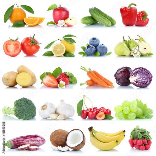 Obst und Gemüse Früchte Apfel Orange Zitrone Beeren Bananen Freisteller freigestellt isoliert