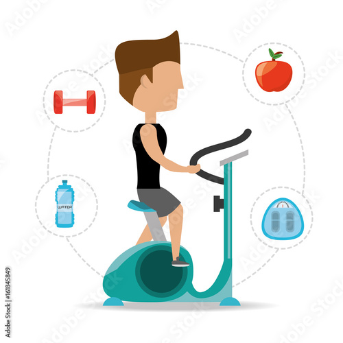 person do exercise to healthy lifestyle vector illustration