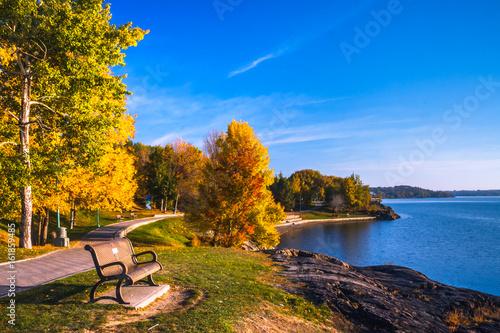 Ramsey Lake and Bell Park in Sudbury, Ontario, Canada during autumn season