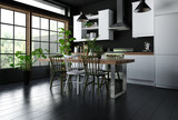 Interior of modern kitchen with dining table - 161864262