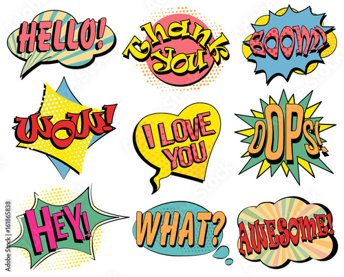 Fotobehang Pop Art Set of speech bubbles in retro style