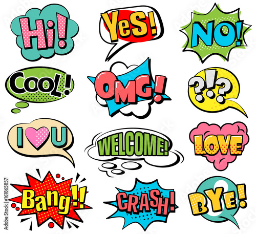 Aluminium Pop Art Set of speech bubbles in retro style