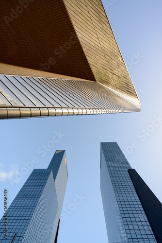 ROTTERDAM, THE NETHERLANDS - FEB 2015: Vertical view of the central railway station and assurance company Nationale Nederlanden