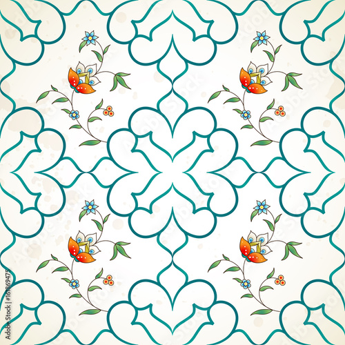 Tuinposter Abstract bloemen Vector seamless pattern with floral ornament.