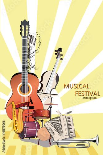 reihe-von-musikalischen-hintergrunden-jazz-poster-hand-gezeichneter-vektor
