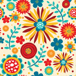 Seamless Bright Pattern With Magical Flowers and Leaves - 161878434