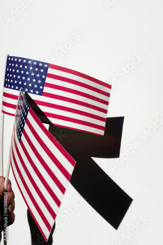 Poster National flags on sticks in hand on white background