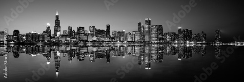 Fototapeta Panoramic Chicago skyline at night in black and white
