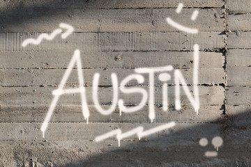 Austin Word Graffiti Painted on Wall