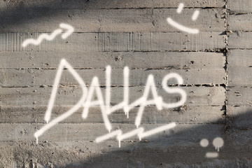 Dallas Word Graffiti Painted on Wall