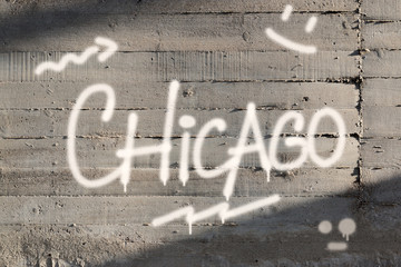 Chicago Word Graffiti Painted on Wall
