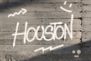 Houston Word Graffiti Painted on Wall