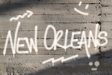 New Orleans Word Graffiti Painted on Wall