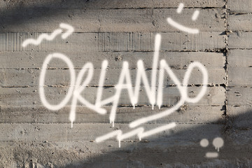 Orlando Word Graffiti Painted on Wall