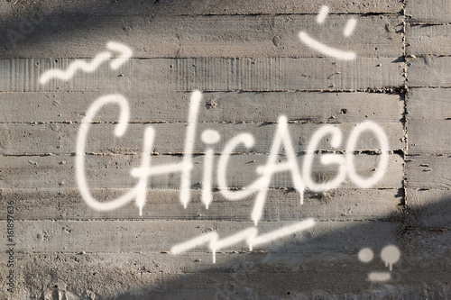 Chicago Word Graffiti Painted on Wall - 161897636