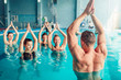 Aqua aerobics in water sport center