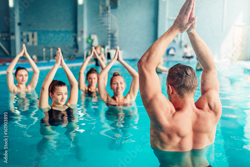 Aqua aerobics in water sport center