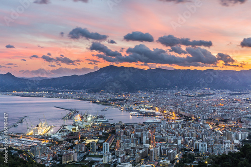 Keuken foto achterwand Palermo Aerial view of Palermo at sunset, Italy