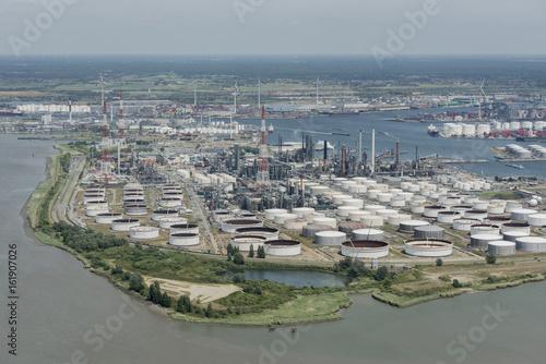 Keuken foto achterwand Antwerpen Aerial view on the east side of Port of Antwerp with Total Antwerp oil tanks in the foreground