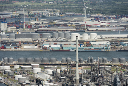 Plexiglas Antwerpen Aerial image of Total Olefins Antwerp and Esso Belgium Oil refineries at the Port of Antwerp