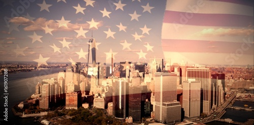 Composite image of united states of america flag Poster