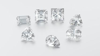 3D illustration closeup group of seven different diamonds