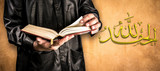"""""""AI HamduLillah"""" thanks to God of Islam, Arabic alphabet and Koran in hand - holy book of Muslims ( public item of all muslims )"""
