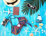 Summer Fashion woman swimsuit Bikini. Tropical sea.Unusual top view. Vacation Concept.