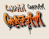 Orange Graffiti text in graffiti style vector illustration. - 161925474