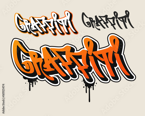 Papiers peints Graffiti Orange Graffiti text in graffiti style vector illustration.