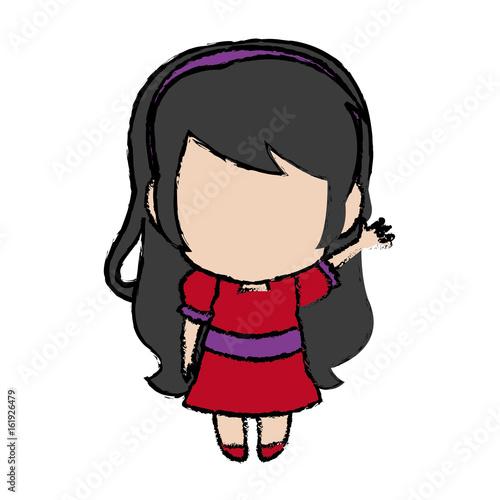 cute anime chibi little girl cartoon style vector illustration - 161926479