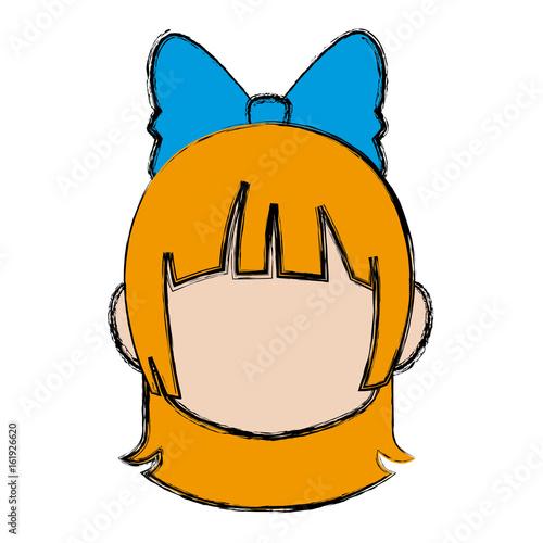 manga anime girl chibi character little vector illustration - 161926620