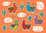 Decorative Llama Alpaca set. Colorful vector childish patches - 161927015