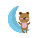 teddy bear seated in the moon