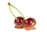 Two cherries in hot milk chocolate on a white background