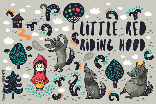 Fototapeta Cute little girl and gray hungry wolves in the forest vector set